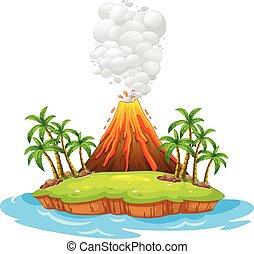 vulkán, sziget