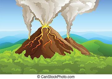 vulkán, zöld, felindulás, hegy