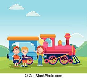 wagon kíséret, boldog, karikatúra, gyerekek
