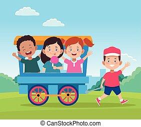 wagon kíséret, tervezés, gyerekek, boldog, karikatúra, gyerekek, nap