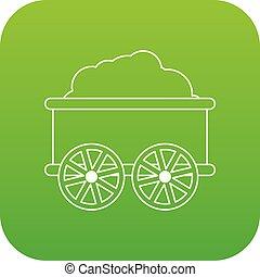 wagon kíséret, vektor, zöld, ikon