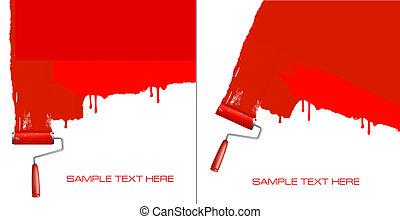 wall., festmény, hajcsavaró, piros white