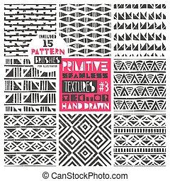 wallpaper., állhatatos, illustration., collection., törzsi, modern, primitív, seamless, példa, vektor, backgrounds., divatba jövő, 8, geometriai, elvont, print.