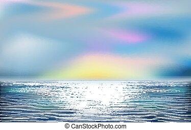 wallpapert, vektor, óceán, ábra, tropikus, gyönyörű