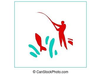 water., sikeres, sport, pihenés, fishing.