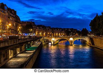 waterfront, párizs, város, franciaország