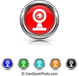 webcam, állhatatos, hat, -, befest, ikon