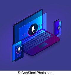 website, isometric, háttér, tabletta, ábra, mozgatható, transzparens, modern, keres, laptop, sötét, telefon, optimization, tervezés, sablon, ikon, hang, technológia