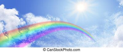 website, szivárvány, ég, transzparens