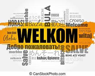 (welcome, fogalom, szó, felhő, afrikaans), welkom
