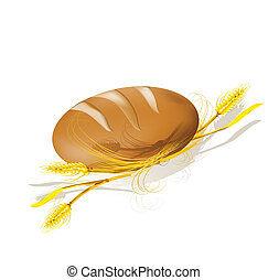 wheat., bread, illustration., vektor