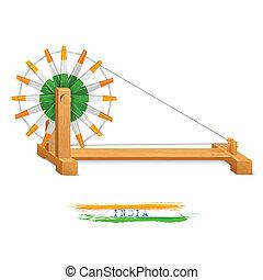 wheel), charkha, (spinning, háromszínű