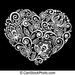 white., árnykép, szív, leaves., elszigetelt, befűz, menstruáció