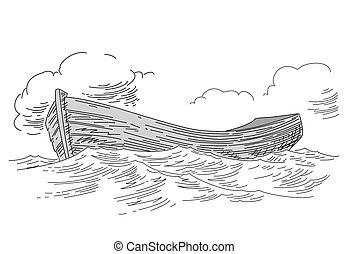 white háttér, csónakázik, rajz