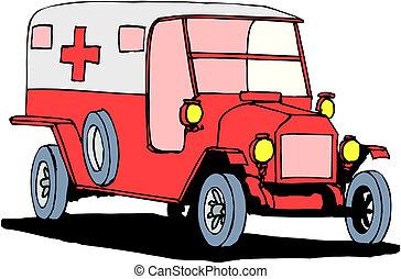 white háttér, mentőautó