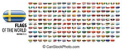white háttér, nemzeti, countries., zászlók, vektor, ábra