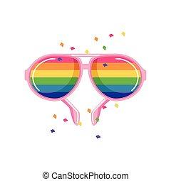 white lobogó, büszkeség, napszemüveg, befest, háttér, buzi