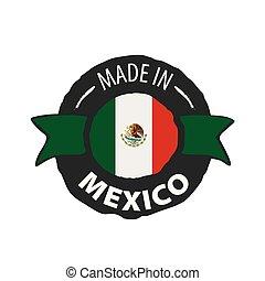 white lobogó, háttér, mexikói, vektor, ábra