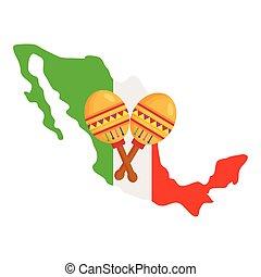 white lobogó, mexikó, háttér, maracas, térkép