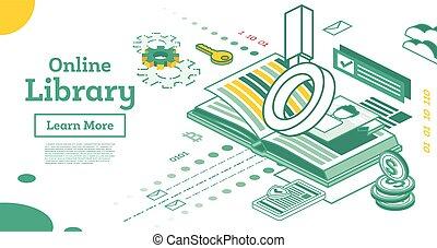 white., oktatás, könyv, concept., áttekintés, elszigetelt, könyvtár, isometric, online, lupe, nyílik