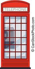 white piros, telefon, háttér, bódé