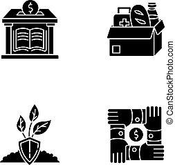 white világűr, glyph, állhatatos, fekete, ikonok, aktivizmus