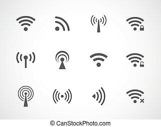 wifi, drótnélküli távíró, különböző, állhatatos, ikonok