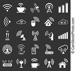 wifi, húsz, állhatatos, öt, ikonok