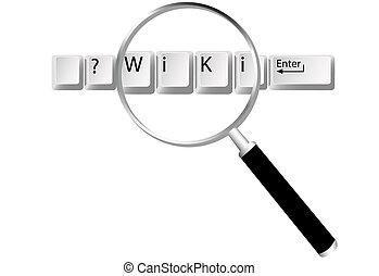 wiki, értesülés, kulcsok, nagyító, talál