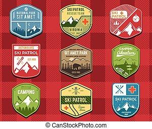 wilderness., állhatatos, járőr, szín, hódeszka, külső, jel, design., hegy, tél, kempingezés, utazás, csípőre szabott, retro, húzott, síel, insignia., felfedező, klub, labels., kéz, kaland, jelkép., ikon, badges., vektor