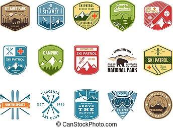 wilderness., állhatatos, járőr, szín, hódeszka, külső, jel, design., hegy, tél, szüret, utazás, csípőre szabott, húzott, síel, insignia., felfedező, klub, labels., kéz, kaland, jelkép., ikon, badges., tábor, vektor