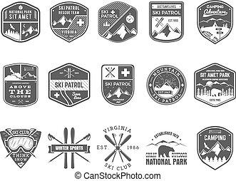 wilderness., külső, járőr, hódeszka, állhatatos, jel, monochrom, jelvény, design., hegy, tél, szüret, utazás, csípőre szabott, húzott, síel, insignia., felfedező, klub, labels., kéz, kaland, jelkép., ikon, tábor, vektor