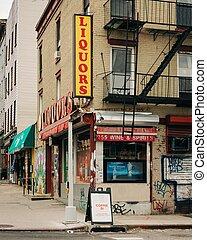 williamsburg, aláír, bolt, folyadék, brooklyn, város, új, kelet, york