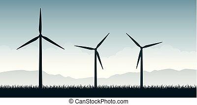 windmills, árnykép, erő, természet, energia, zöld parkosít, felteker