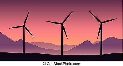 windmills, erő, természet, bíbor, energia, felteker, táj