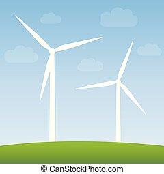 windmills, erő, természet, energia, zöld, felteker, táj