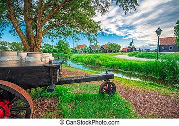 windmills, falu, hollandia, hagyományos, holland, netherlands., folyó, napnyugta