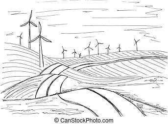 windmills, háttér, mód, ábra, kéz, vektor, skicc, húzott, hegy.