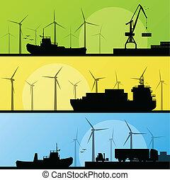 windmills, villanyáram, poszter, lin, óceán, kikötő, generators, tenger, felteker