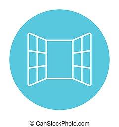 windows, egyenes, nyílik, icon.