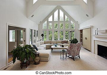 windows, eleven, plafon, szoba, emelet