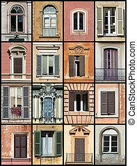windows, kollázs, öreg