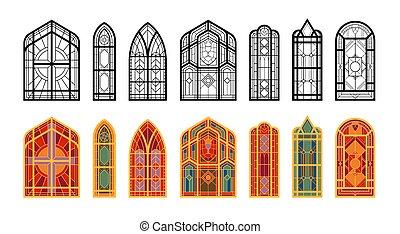 windows, mózesi, állhatatos, templom
