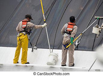 windows, munkás, takarítás, hajó cruise