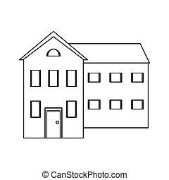 windows, nagy, épület, áttekintés, sok