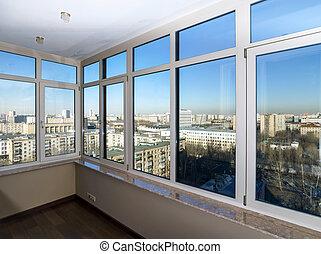 windows, városnézés, át, új