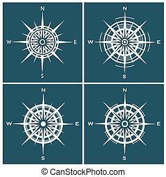 windroses, agancsrózsák, állhatatos, vagy, iránytű