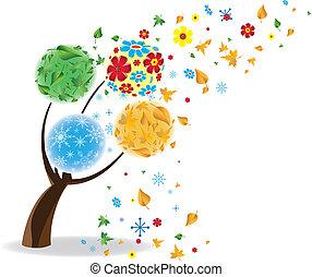 winter., művészet, eredet, ősz, fa, négy, seasons., nyár