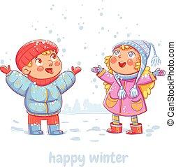 wintertime, snowfall.