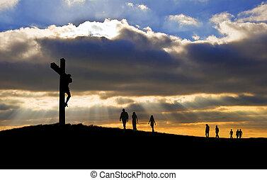witth, gyalogló, jó, árnykép, krisztus, emberek, péntek, feláll, kereszt, felé, hegy, keresztre feszítés, jézus, húsvét